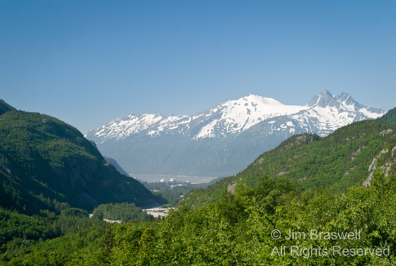 Skagway, AK harbor (view from train in mountains)