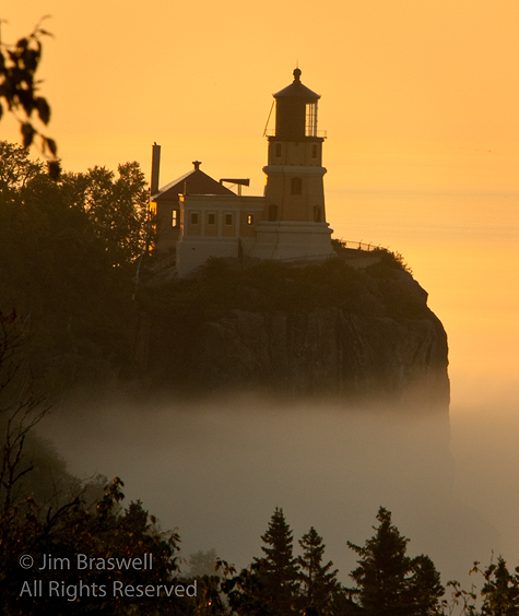 SplitRock Lighthouse at Sunrise in the fog