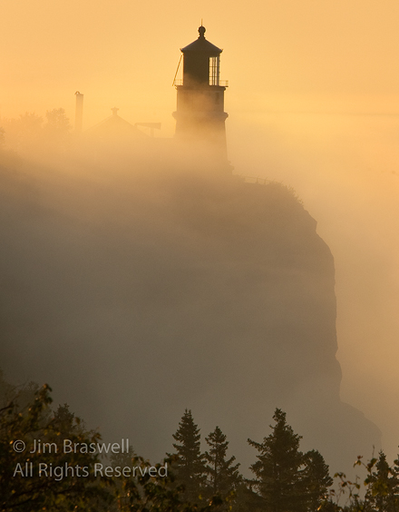 Split-Rock Lighthouse at sunrise in the fog