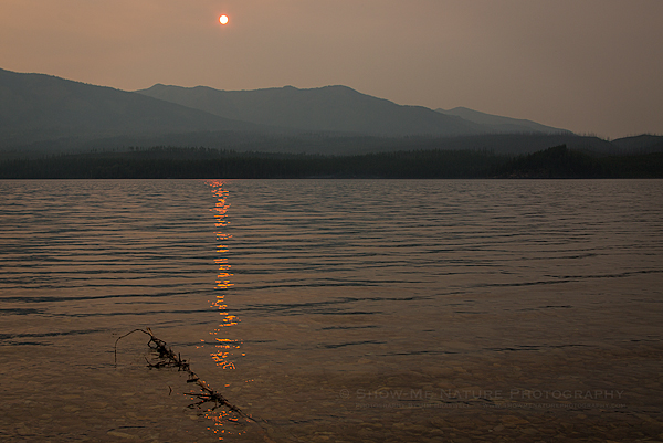 Afternoon Sun in the Wildfire Smoke of Glacier NP