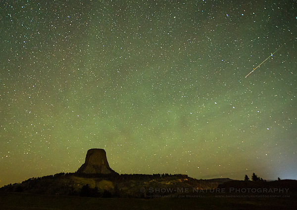 Perseid meteor shower over the Devil's Tower