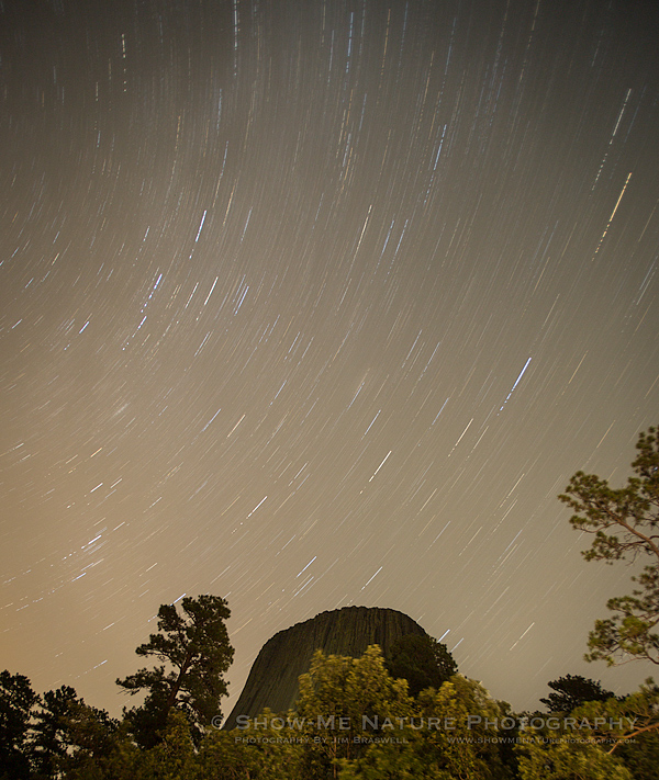 Long Exposure Star Trail over Devil's Tower NM