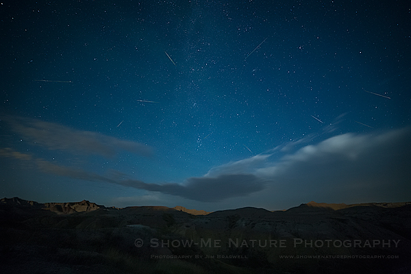 Perseid Meteors fly over the Badlands NP