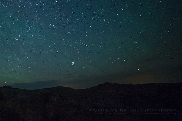 Perseids Meteor Shower over Badlands NP