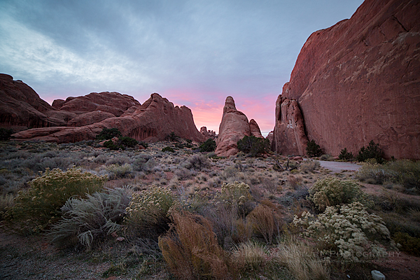 Entrance to Devil's Garden at sunset