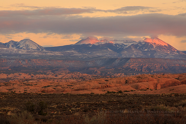 La Sal mountain range, with fresh snow and alpenglow