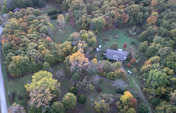 Aerial View of my rural MO home in fall colors
