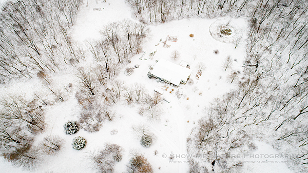 Drone image over my rural Missouri home in winter