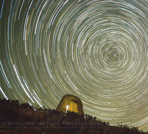 Star Trails over Devil's Tower NM