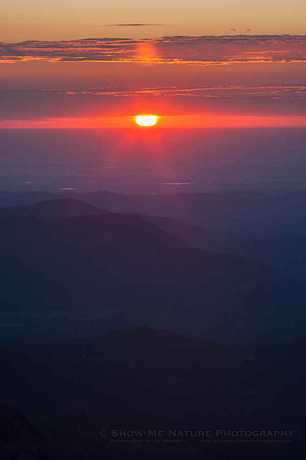 Sunrise from the summit of Mount Evans
