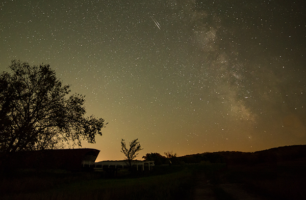 Double Meteor Over Hogback Covered Bridge