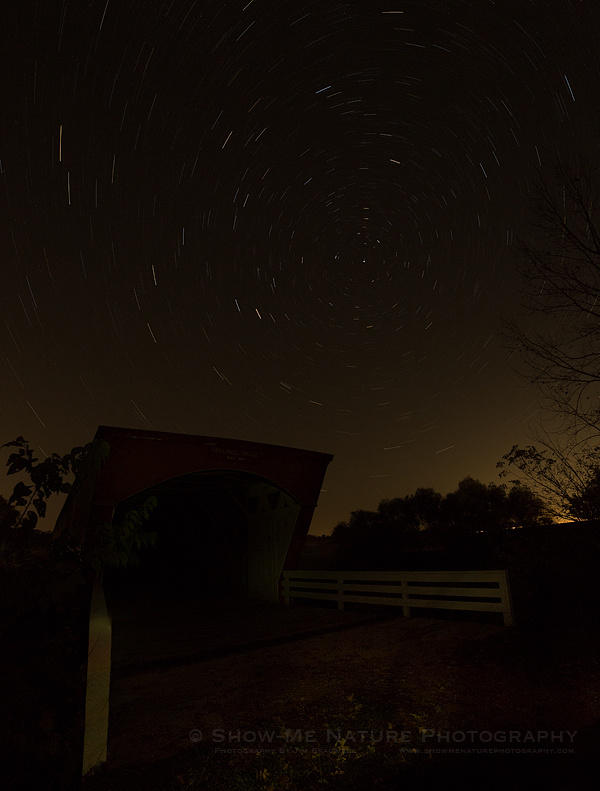 Star Trails over the Holliwell Covered Bridge