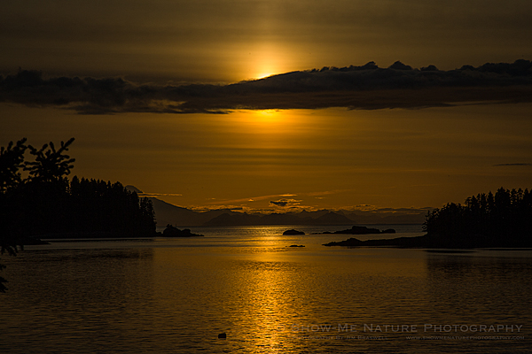 Midnight Sun in Little Tutka Bay, Alaska