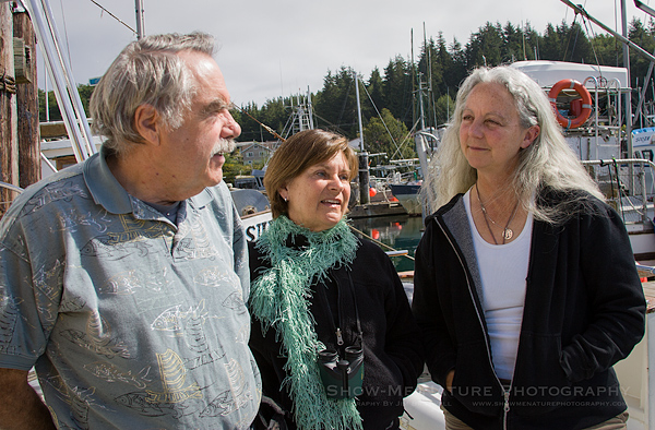 Captain Ronn, guest Molly and whale researcher Alexandra Morton