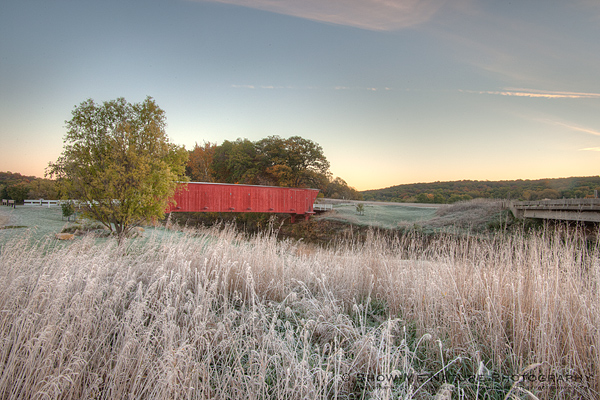 Hogback covered bridge in frost