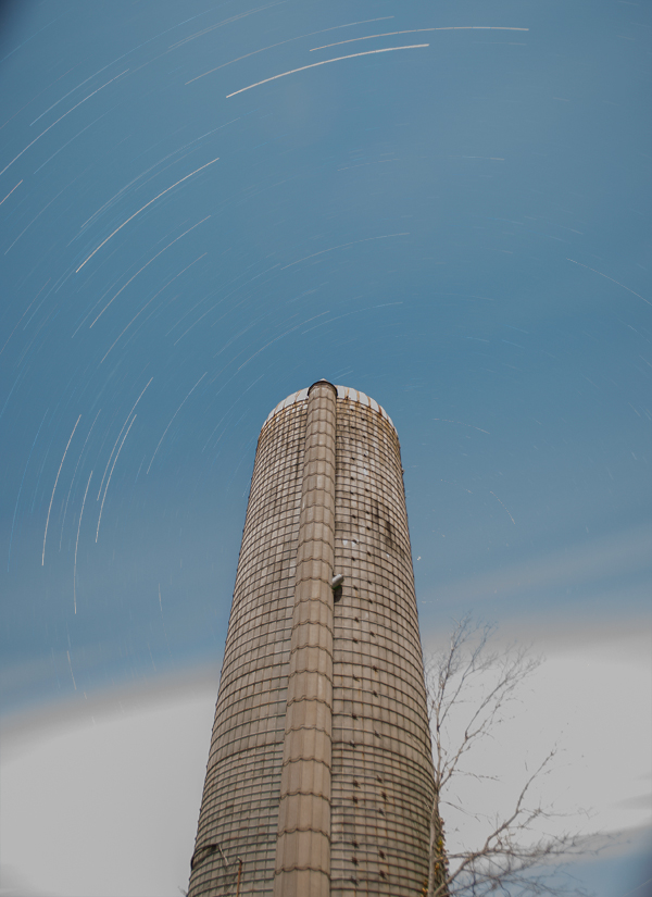 Star Trails over silo