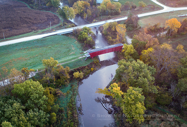 Holliwell Covered Bridge and the fall landscape