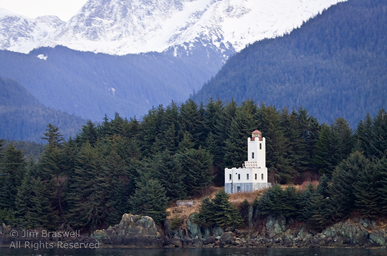 Lighthouse along Inside Passage, Alaska