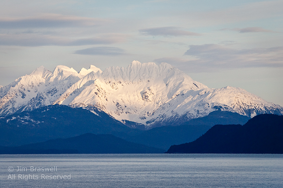 Snowy Mountains from Inside Passage, view from ferry