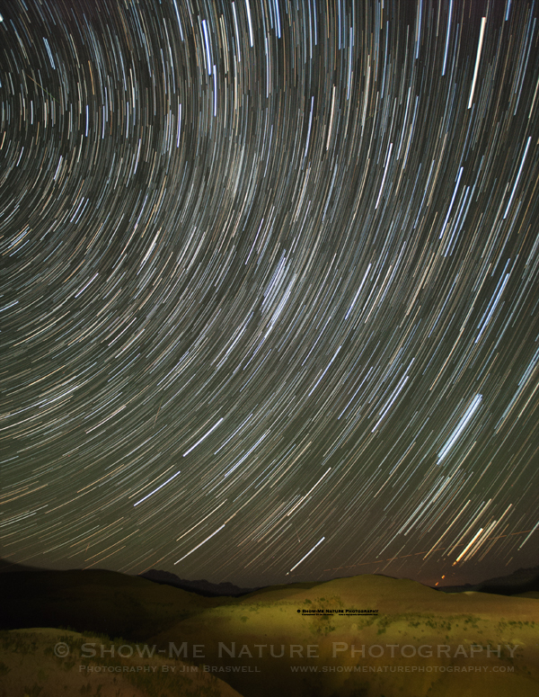 Star Trails captured over Badlands NP